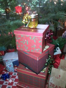 Honey from my hives as Christmas gifts under Mom and Dad's tree
