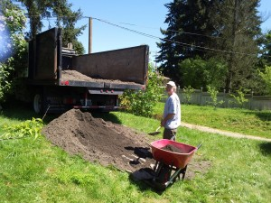 Gavin shoveling purchased topsoil for raised garden beds