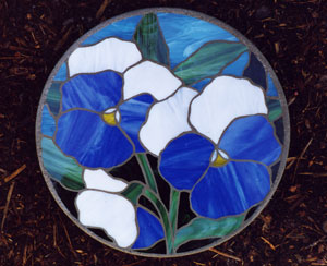 Stained glass stepping stone blue pansy