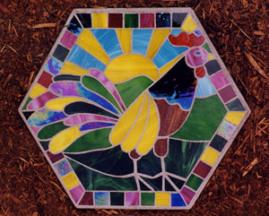 Stained glass stepping stone rooster
